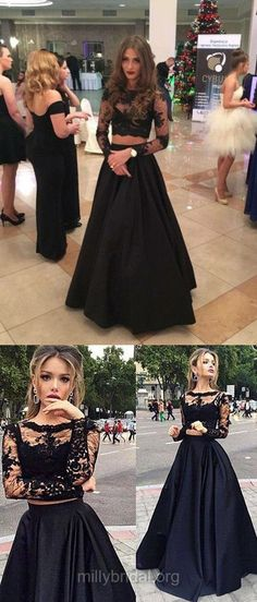 Two Piece Prom Dresses, Long Prom Dresses, 2018 Prom Dresses Lace, Black Prom Dresses Scoop Neck, Tulle Elastic Woven Satin Appliques Prom Dresses Long Sleeve Modest Pageant Dresses For Teens, Prom Dresses 2018, Black Prom Dresses, Stunning Prom Dresses, Elegant Bridesmaid Dresses, Prom Dresses Long With Sleeves, Long Dresses, Blush Dresses, Trendy Dresses