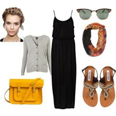 how to style... maxi dress/skirt with simple details. travel outfit.