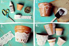 Flor é Ser: Vasos rendados!