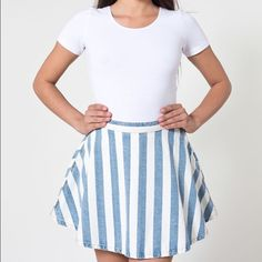 AA Striped Denim Circle Skirt Barely worn, great condition American Apparel Skirts Circle & Skater