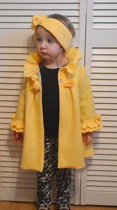 Ruffles & Roses Girls Fleece Coat Pattern With Ear Warmer PDF Sewing Pattern…