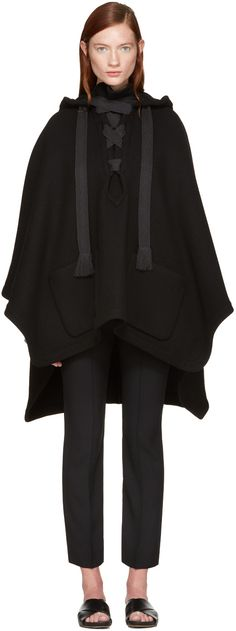 Chloé - Black Giant Ribbon Poncho