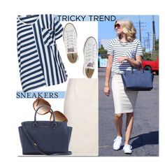 """""""Stripes 'n Sneakers"""" by arethaman ❤ liked on Polyvore featuring Zhenzi, Vera Mont, Converse, MICHAEL Michael Kors, TrickyTrend, sunglasses, tote, pencilskirt and stripedtee"""