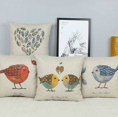 Bird Linen Pillow throw pillow cover car pillow fashional pillow Branch Pillow Cover Decorative Throw Pillow on Etsy, $21.96 CAD