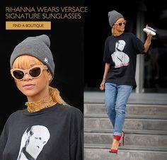 Rihanna in Versace sunglasses