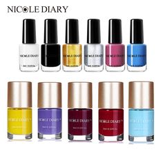 Cheap Nail Polish, Buy Directly from China Suppliers:NICOLE DIARY Stamping Polish Nail Varnish Lacquer Black Gold Silver Colorful Manicure Nail Art Plate Printing Lacquer Nail Manicure, Nails, Cheap Nail Polish, Colorful Nail Art, Beauty Essentials, Smell Good, Beauty Care, Makeup Brushes, Black Gold