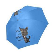 Kotetsu Cat - Sssh I'm Hiding Now Foldable Umbrella Cat Umbrella, Munchkin Cat, In And Out Movie, Cat Stickers, Custom T, Snapback Hats, Cat Love, Shoulder Handbags, Cats