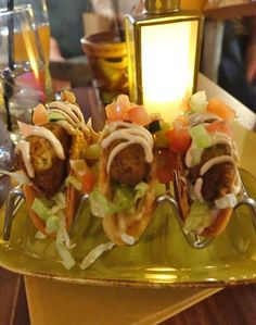 Falafel stuffed Tanis Tacos at Jock Lindsey's Hangar Bar at Disney Springs.