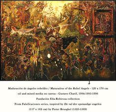 Maduración de ángeles rebeldes.  Maturation of the Rebel Angels. Oil and mixed media on canvas - 120 x 170cm. Gustavo Charif 1994/1996.    Fundación Elía-Robirosa collection.