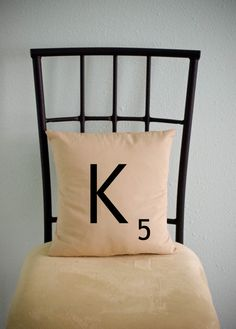 $15 Personalized Initial (scrabble letters) pillow cases cushion covers -- choose any letter    https://www.etsy.com/listing/86007602/personalized-initial-scrabble-letter