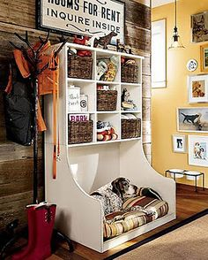 Dog Bed in custom wooden storage shelving unit for a Mud Room