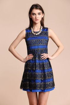 Blue Sleeveless Contrast Hollow Out Lace Short Dress #SheInside
