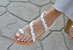 "Bridal Sandals ""Αlkioni white""-Greek Leather Sandals-Decorated Sandals-Flowers Shoes-Wedding Shoes-T-strap Sandals-Wedding Sandals Beige Sandals, Leather Sandals, Bridal Sandals, Beautiful Sandals, Leather Conditioner, Greek Sandals, Designer Sandals, Toe Rings, Ankle Strap Sandals"