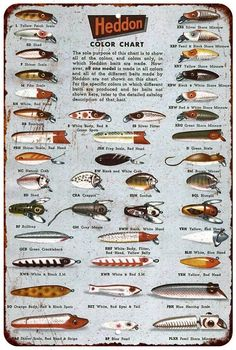 Heddon Fishing Lures Color Chart Vintage Reproduction Sign 8 x 12 8120210