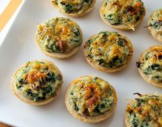 Mini Crab, Spinach, and Mushroom Tarts - Evil Shenanigans Heavy Appetizers, Finger Food Appetizers, Yummy Appetizers, Appetizers For Party, Appetizer Recipes, Antipasto, Seafood Recipes, Cooking Recipes, Cooking Blogs