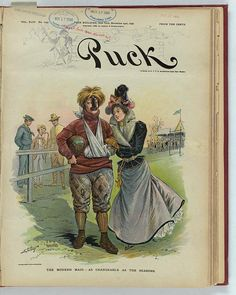 Samuel D. Erhart, The Modern Maid - As Changeable as the Seasons (Puck, November 23, 1898)