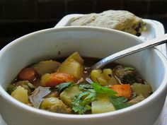 Vegan Irish Stew: 2 onions Chopped 2 carrots Sliced 3 potatoes Large diced 4 cups water few sprigs thyme, salt  parsley