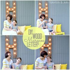 momand ella with the outdoor marquee letter