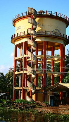 spiral staircase…….LOOKS LIKE A WATER TOWER IN A CITY SOMEWHERE IN THE U.S.A.       …………ccp