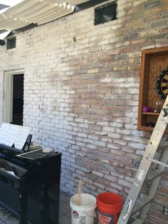 When we first bought our ranch style house a few years ago, I was not in love with the brick exterior any more than the interior,. Brick Ranch Houses, Brick Images, Painted Brick Exteriors, White Wash Brick, Exterior Makeover, Diy Exterior, Stone Exterior, Wall Exterior, Brick Colors