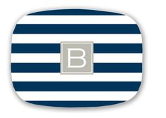 Personalized Melamine Striped platter with Single Initial