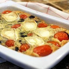 Clafoutis aux tomates cerise, olives noires et chèvre