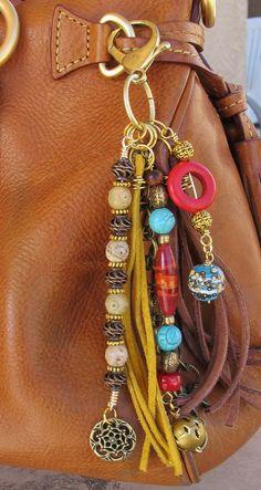 Purse Charm Charm Tassel Zipper Pull Key Chain by #BethAnnsJewelry