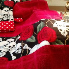Finishing touches on the Skull and Roses towel.