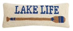 Decorate your space with this fun long 8 x 20 Lake Life Paddle pillow with its long brown and blue striped oar against a creamy white background. Lumbar Throw Pillow, Throw Pillows, Bright Pillows, Cream Pillows, Lakeside Living, Pillow Sale, Cotton Velvet, Lake Life, Coastal Style