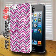 Sparkle pink chevron design print - design case for iphone 4,4s | shayutiaccessories - Accessories on ArtFire