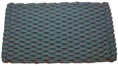 #365 Light Blue with Rose insert Rockport Rope Doormats 100% made in USA Hand woven