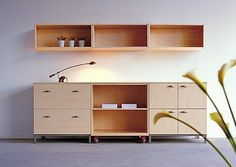 Image: A4+ 3 single-level 800mm wide wall-hung units, 3 A4+ 800mm wide units, open, with doors and 2 drawers/file drawers. Shown with castors, base and metal leg option.