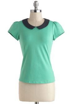Jade Your Day Top - Green, Black, Solid, Peter Pan Collar, Work, Short Sleeves, Collared, Short, Vintage Inspired, 60s, Pinup, Green, Short ...