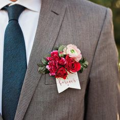 """Great idea for your guys boutonniere! The addition of a sweet card, written with a simple promise: """"Forever. Groomsmen Boutonniere, Groom And Groomsmen, Boutonnieres, Carnation Boutonniere, Wedding Boutonniere, Groom Suits, Groom Attire, Wedding Men, Wedding Suits"""