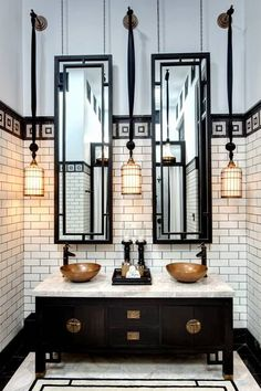 The spectacular Oriental grandeur of the guest bathrooms in the Chinese Villa Suites at the Siam Bangkok Hotel.