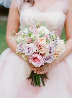 Pastels #bouquet and blush #wedding gown ~ Valentina Glidden Fine Art Photography // Floral Design: Belle of the Ball Designs | bellethemagazine.com