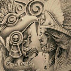 Aztec Chicano Art Tattoos, Chicano Drawings, Tattoo Drawings, Art Drawings, Drawing Faces, Inka Tattoo, Payasa Tattoo, Mayan Tattoos, Mexican Art Tattoos