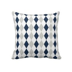 Cool Navy Blue and Gray Argyle Diamond Pattern Throw Pillows