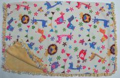 Cozy Animal Print Fleece Tie Blanket/baby by BriersBlankets