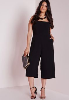 40629410d3c96 Plus Size Bandeau Culottes Jumpsuit Black - Plus Size - Plus Size Jumpsuits  - Missguided Black