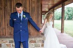 Beautiful photo captured our sweet Bride and Groom's prayer before their intimate ceremony! #MilitaryWedding #Texas #WeddingVenue #ShabbyChic #MeggieBurrPhotography