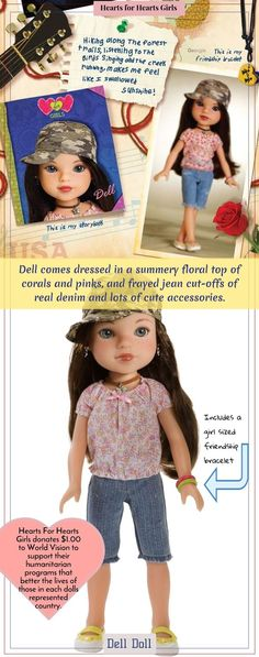 Dell is an American doll from the heart of Kentucky's mountains. Donation with purchase to World Vision to support their humanitarian aid programs #affiliate #delldoll #hearttoheart