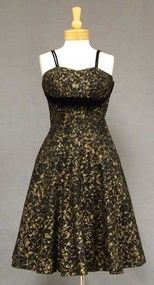 Black & Gold Lace Vintage Cocktail Dress w/ Velvet Trim