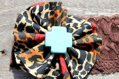Cheetah Handsewn Flower with Turquoise Cross Center by RuralHaze, $4.99