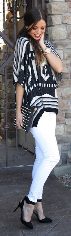 Bold black and white printed flowy top, white skinnies, black heels