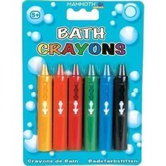 Mammoth XT Supplements 6 x Washable Bath Crayons - SIX COLOURS / COMES IN CASE Crayons for use in the bath in an assortment of colours, allowing children to be artistic and get clean at the same time. Crayons slide back into casing when not in use. (Barcode EAN = 5055643212360) http://www.comparestoreprices.co.uk/december-2016-3/mammoth-xt-supplements-6-x-washable-bath-crayons--six-colours--comes-in-case.asp