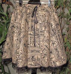 Zelda Beige print circle skirt in several women sizes #EvaVanecek #Circleskirt
