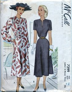 McCall 7299 - 1948 Soft Pleats Dress Pattern -  Size 16, Bust 34