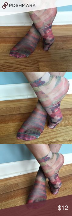 SILK SCREENED SOCKS HANDMADE FROM ARGENTINA, OS These are more beautiful in person, good for flats, mules and short booties Accessories Hosiery & Socks