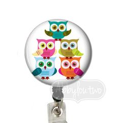 Owls Stacked Badge Reel #idtag #badgereel #idholder #abbyloutwo #name #badgeholder #stethoscopeidtag #stethoscope #initials #monogrammed #personalized